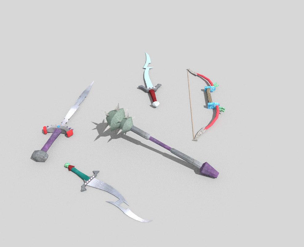 3d model pack 5 fantasy weapons