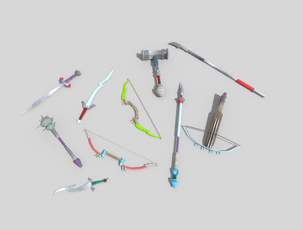 pack 10 fantasy weapons 3d model