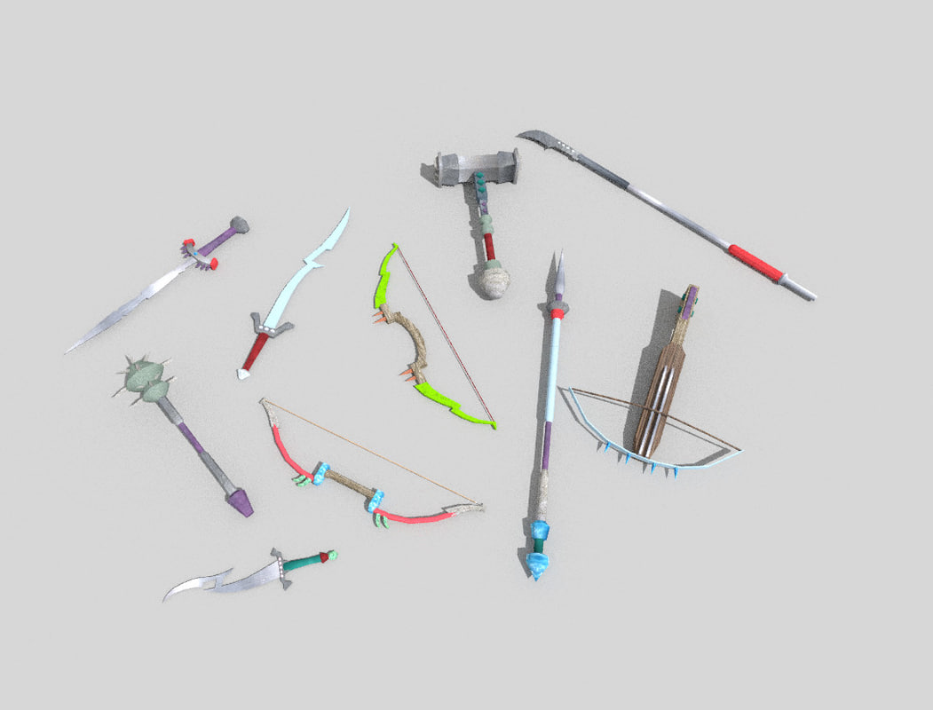 pack 10 fantasy weapons 3d model