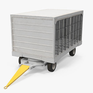 3d airport closed baggage trailer