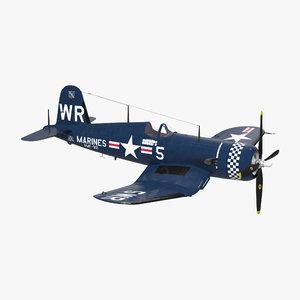 fighter f4u corsair marine corps 3d max