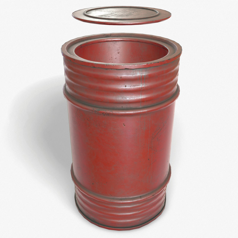 3d model ready oil barrel pbr