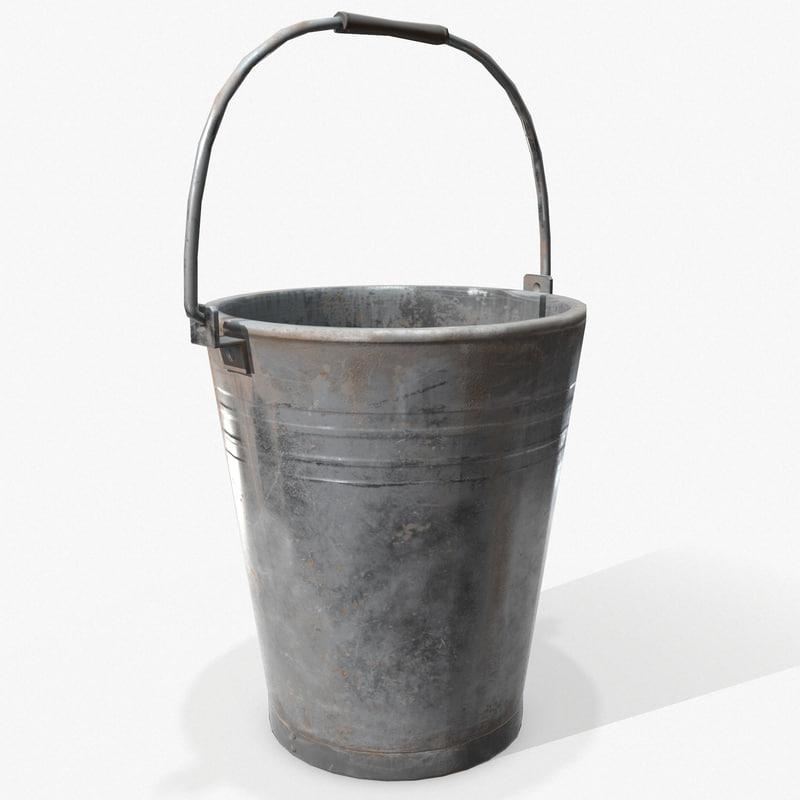 ready bucket pail pbr 3d model
