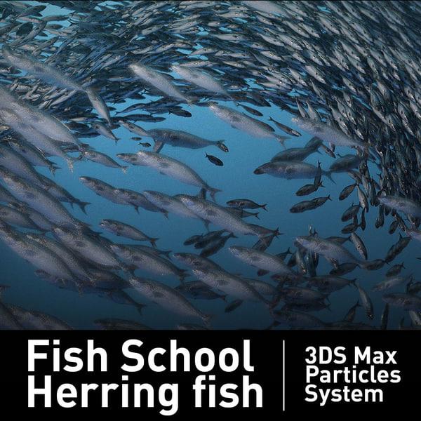 fish school particles 3d model