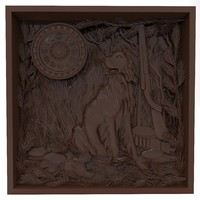 bas relief hunting time 3d obj