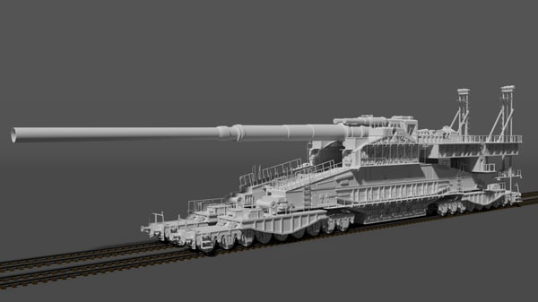 3d model railway gun 800mm gustav