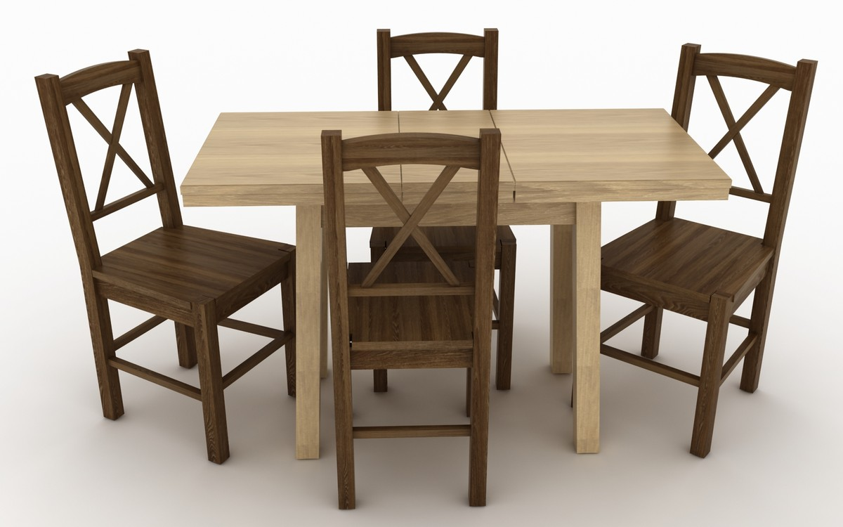 3d wooden kitchen table chairs