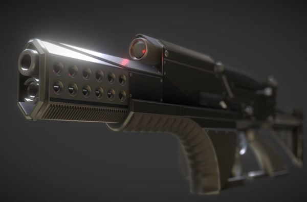 high-poly futuristic weapon concept 3d dxf
