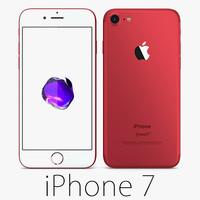 apple iphone 7 red 3d model