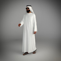 3d model traditional arab man dubai