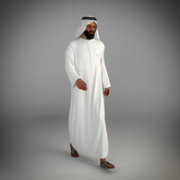 traditional arab man dubai 3d max
