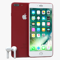 3d iphone 7 red airpods model