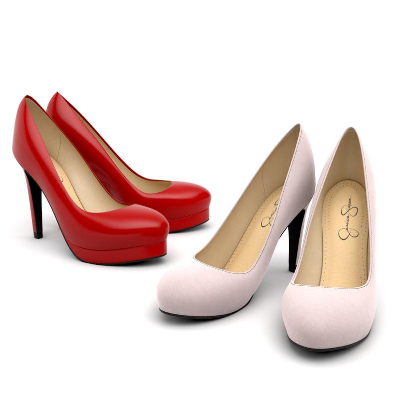 3d model set women heel shoes