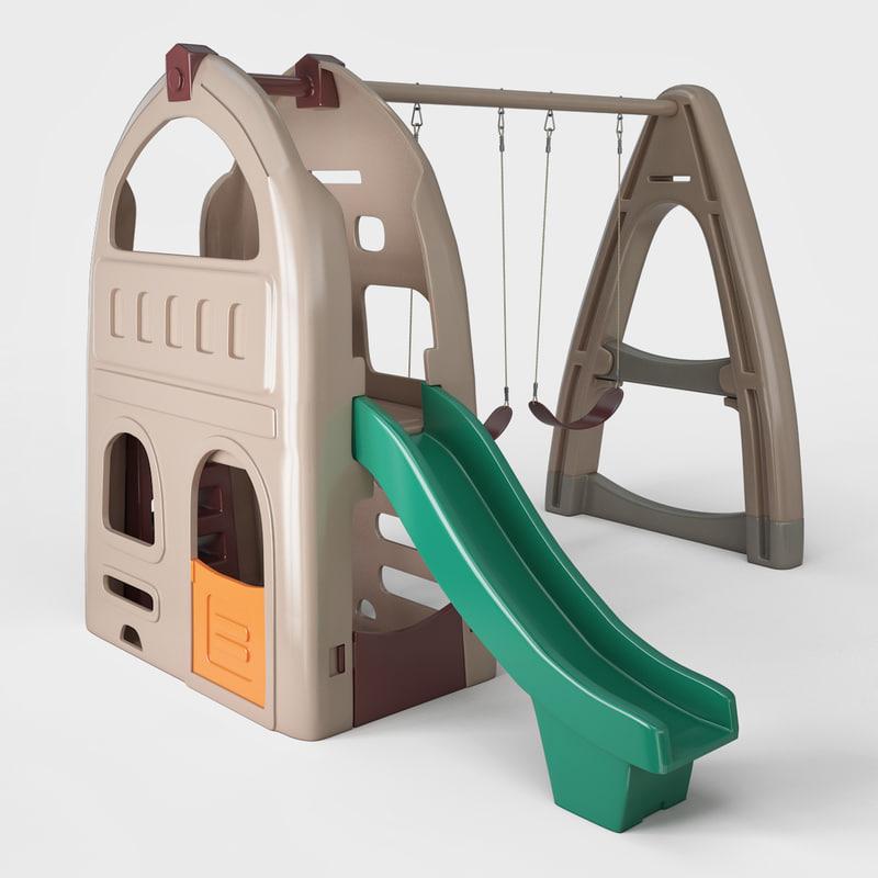 playhouse climber swing set 3d max
