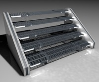 3d concept sci-fi stairs model