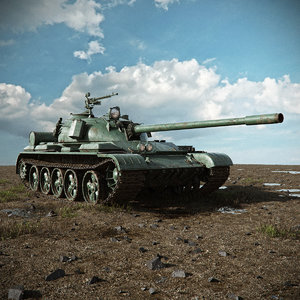 tank t-55 scene 3d model
