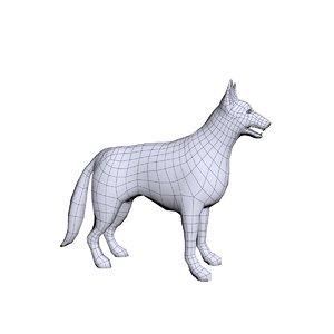 3d german shepherd dog base mesh