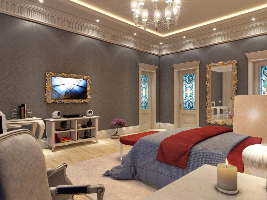 3d model scene english classic bedroom
