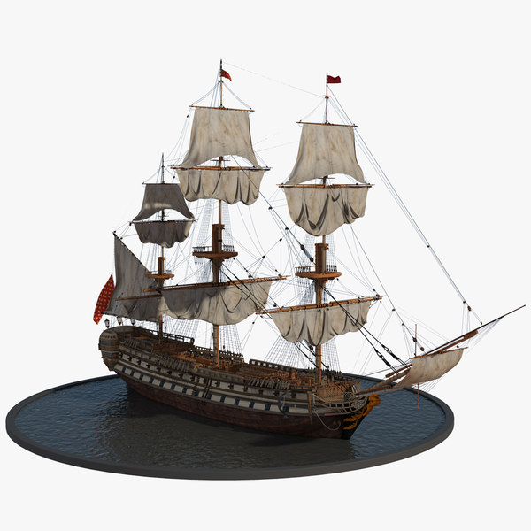 galleon realistic prop 3d model