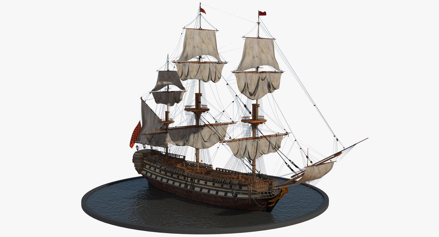 galleon realistic prop 3d model