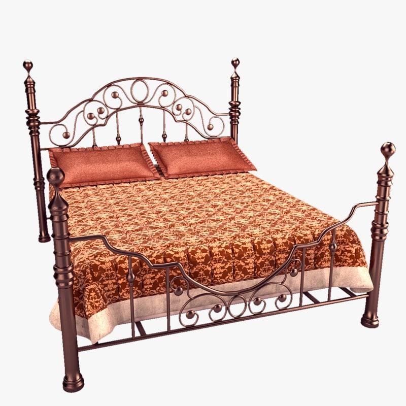 3d metal double bed