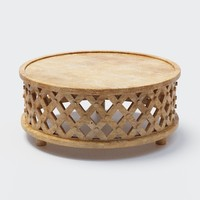 carved wood coffee table