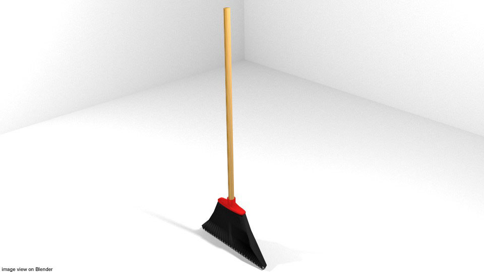 3d model of broom broomstick household