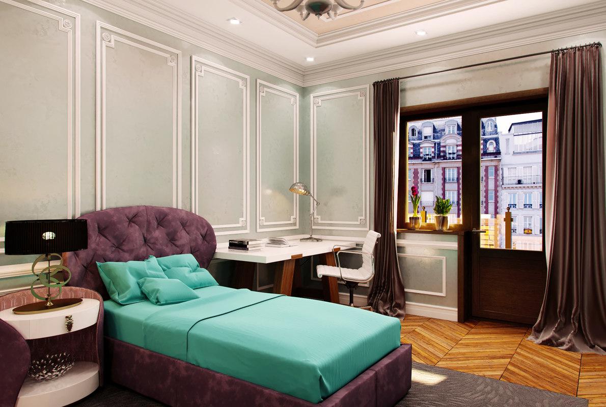 obj interior scene bedroom