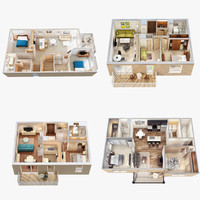 Four 3D Floor Plan Scenes