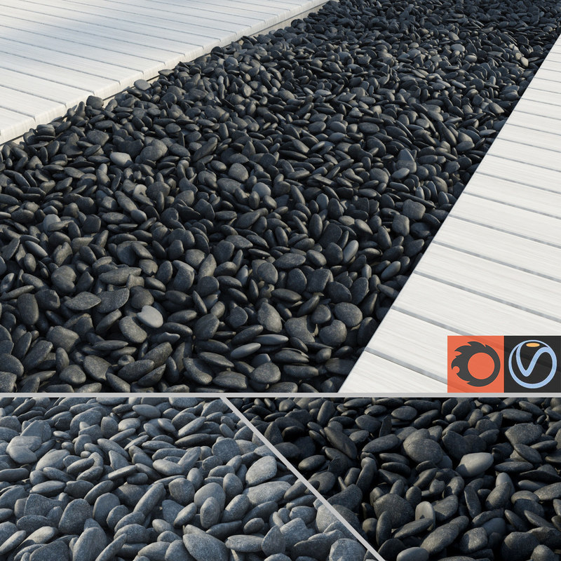 3d black grey pebbles