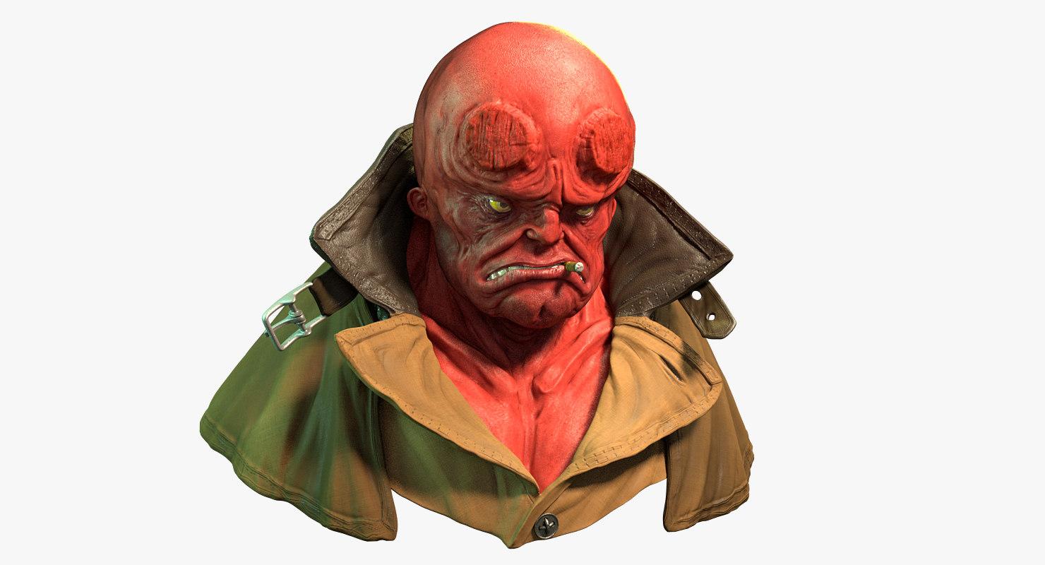 hellboy bust 3d model