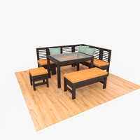 3d wooden dining set table