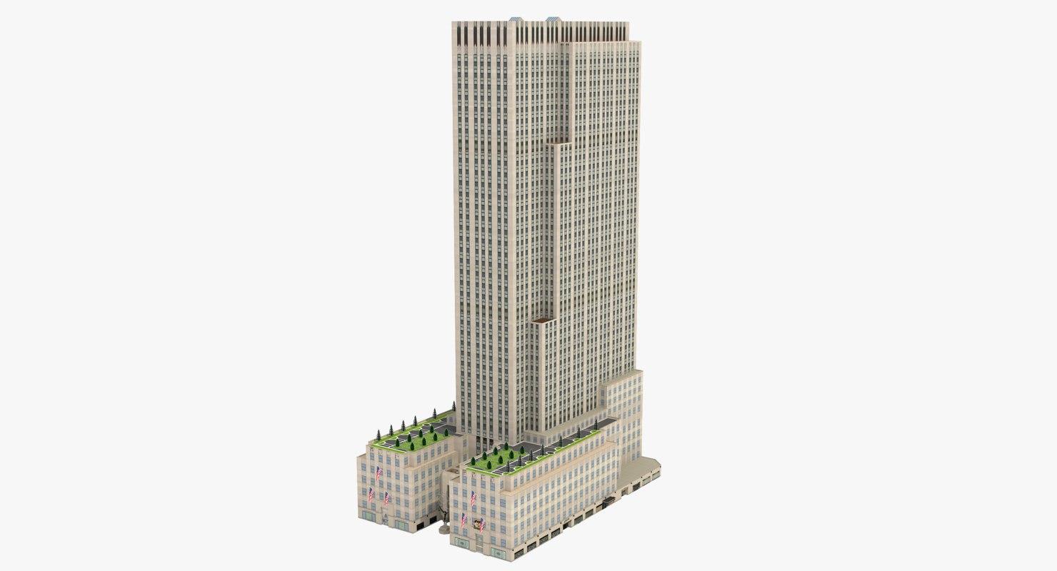 3d rockefeller center international building model