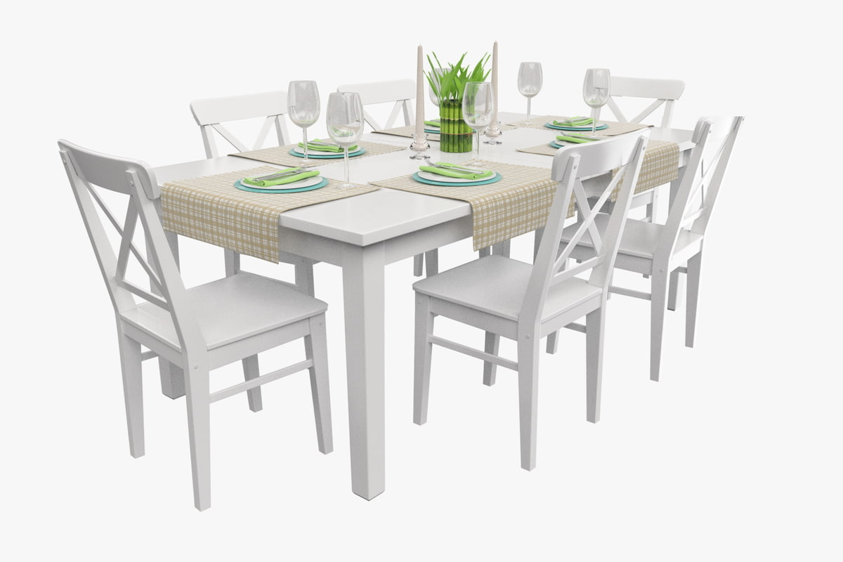 3d high-quality served dinner table