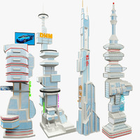 3d model set skyscraper science fiction