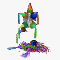 3D smashed star pinata model