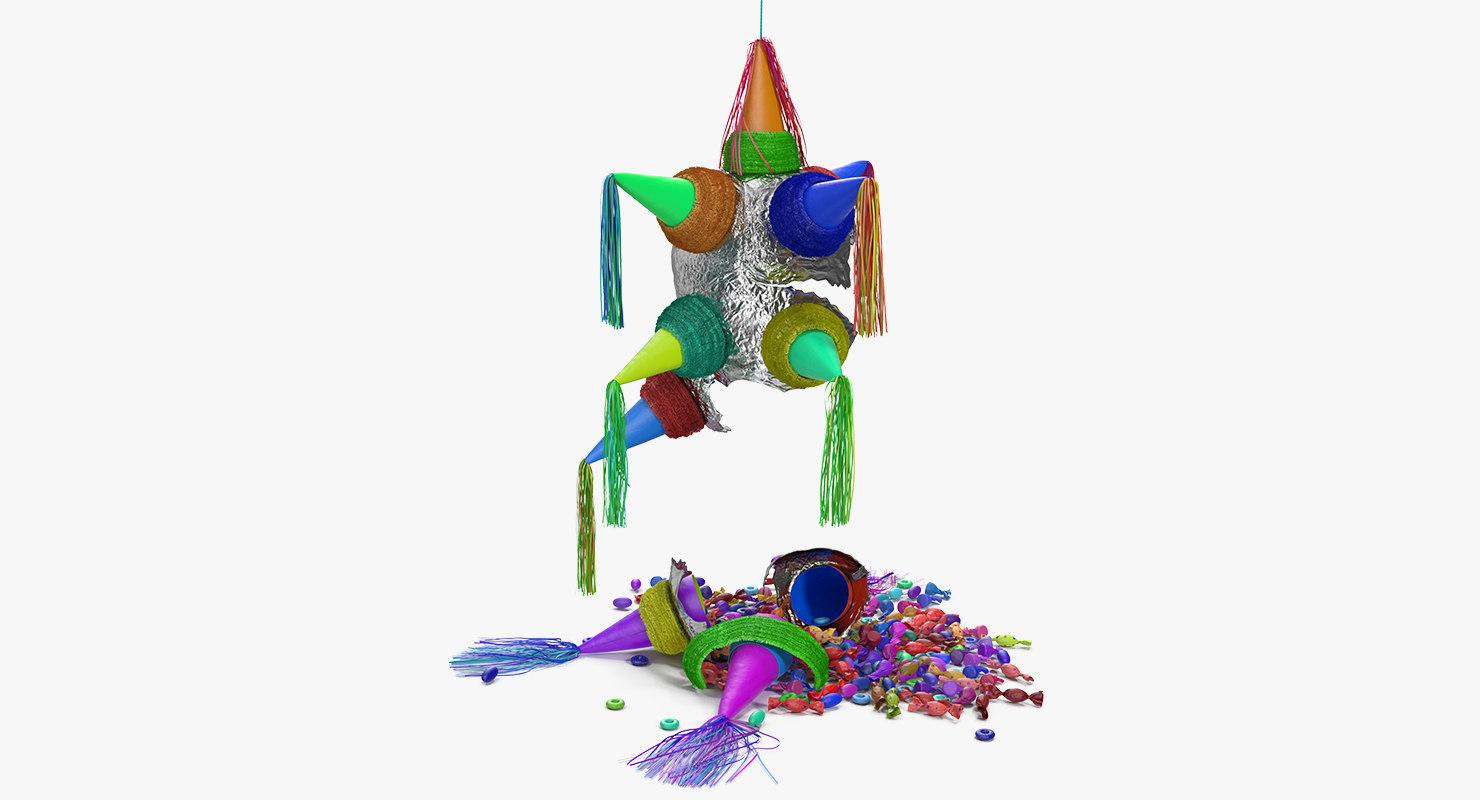 3D smashed star pinata model