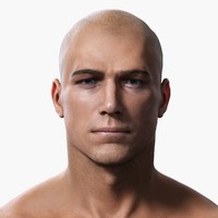 photorealistic male body realistic head model