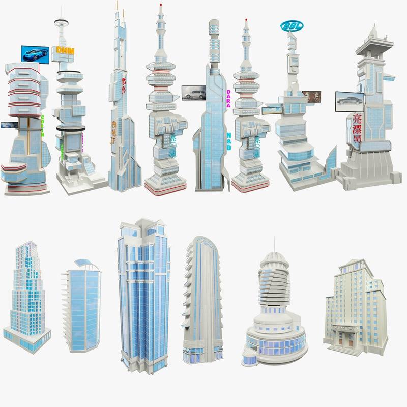 set skyscraper science fiction 3D