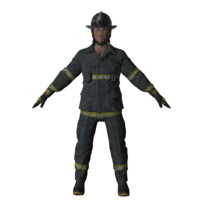 american firefighter man mobile 3D model