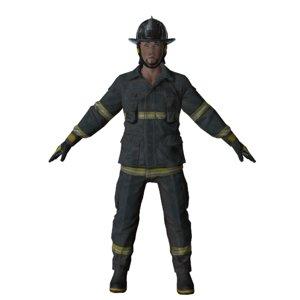 american firefighter man mobile 3D model