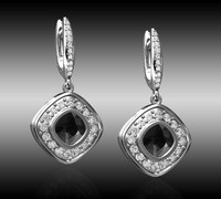 diamond earrings with black chrysoprase gem