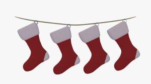 christmas socks 3d obj