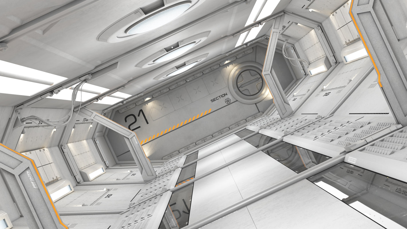 3d modular sci fi corridor