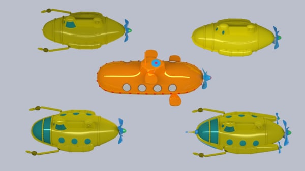 3d model of submarine cartoon
