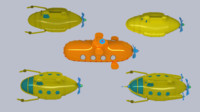 3d model of submarine cartoon
