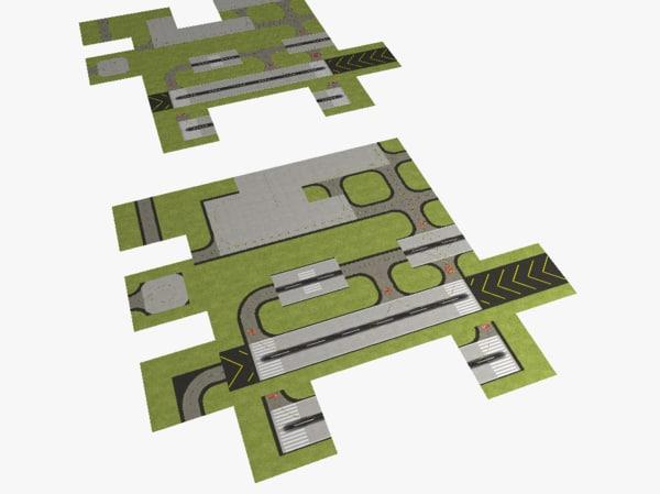 modules airport runways taxiways 3d obj