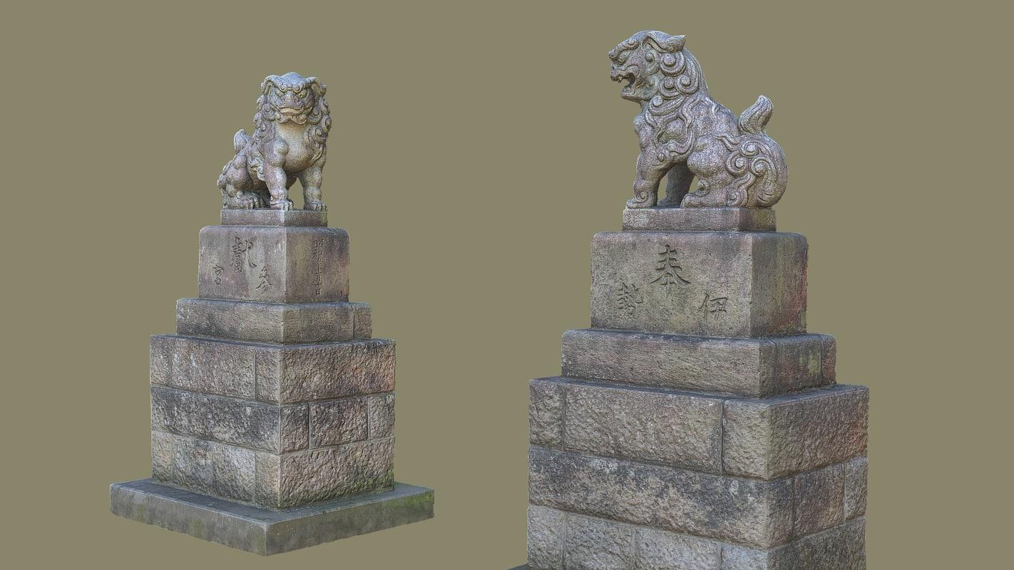 3d obj komainu guardian lions
