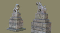 3d obj komainu guardian lions