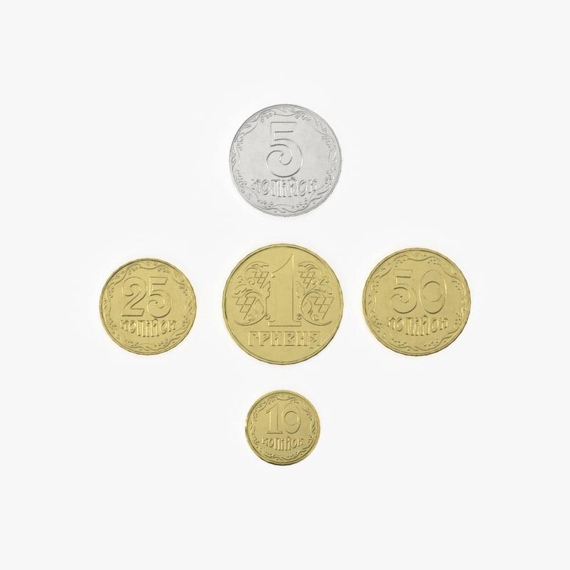 3D realistic ukrainian coins